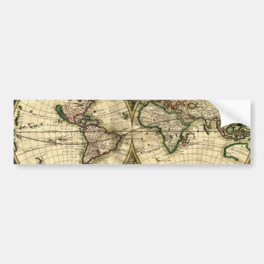 World Map of 1689 Gifts Bumper Sticker