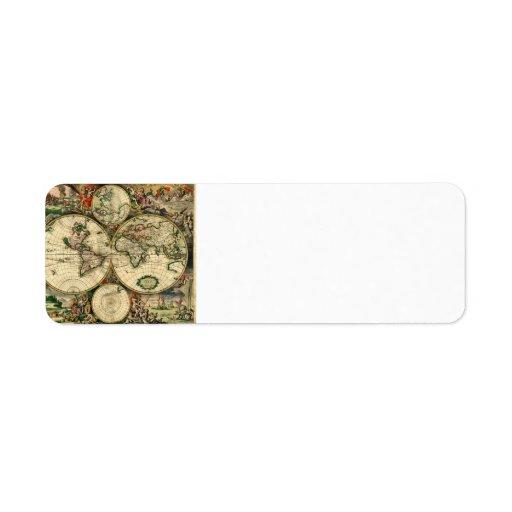 World Map of 1689 Gifts Return Address Label