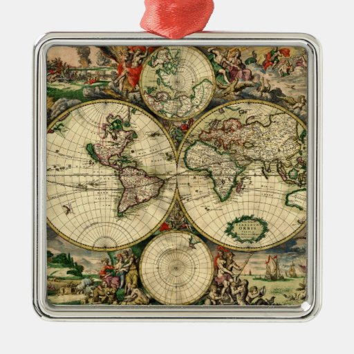 World Map of 1689 Gifts Ornaments