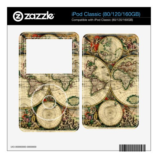 World Map of 1689 Gifts Skins For The iPod