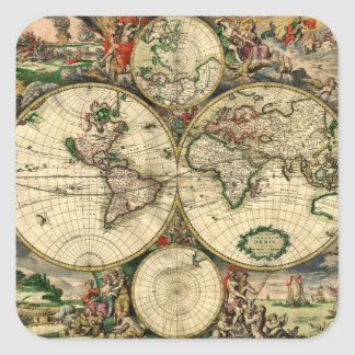 World Map of 1689 Gifts Square Sticker