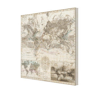World map of Air Flow Canvas Print