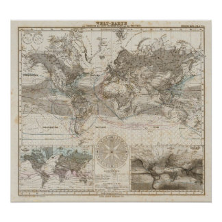 World map of Air Flow Poster