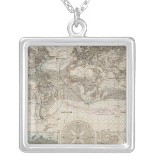 World map of Air Flow Silver Plated Necklace