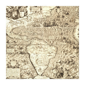 World Map of America by Diego Gutiérrez Canvas Print