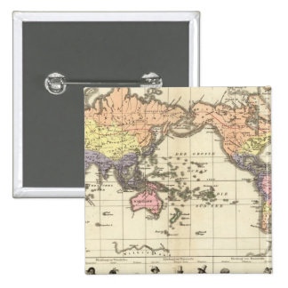 World Map of Clothing Styles Pinback Button