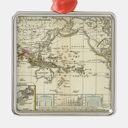 World Map of Diseases Metal Ornament
