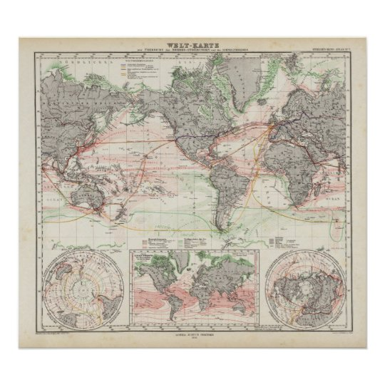 World Map With Currents.World Map Of Ocean Currents Poster Zazzle Com