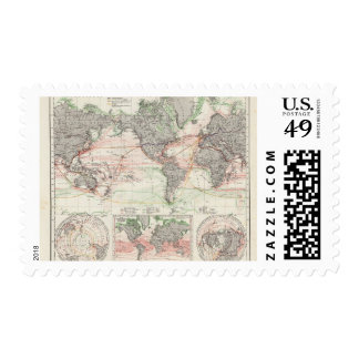 World Map of Ocean Currents Stamp