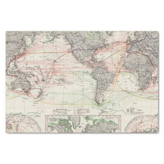 World Map With Currents.World Map Of Ocean Currents Tissue Paper Zazzle Com