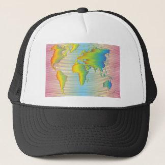 World map of rainbow bands trucker hat