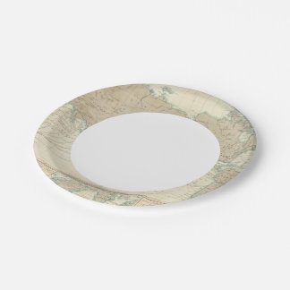 World Map of the Shipping Canals 7 Inch Paper Plate