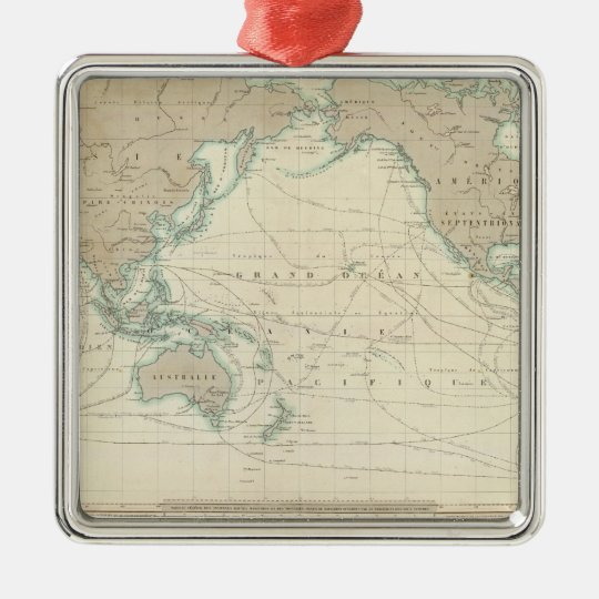 World Map of the Shipping Canals Metal Ornament