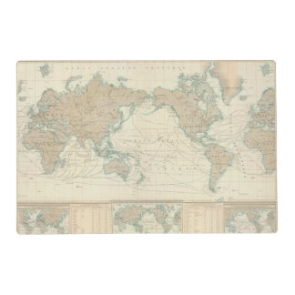 World Map of the Shipping Canals Placemat