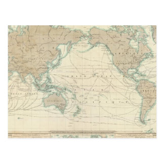 World Map of the Shipping Canals Postcard