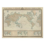 World Map of the Shipping Canals Print