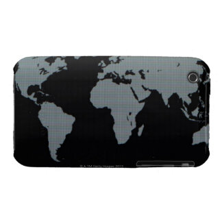 World Map on Computer Monitor iPhone 3 Case
