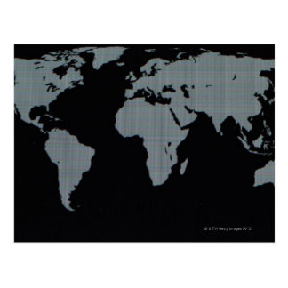 World Map on Computer Monitor Postcard