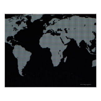 World Map on Computer Monitor Poster