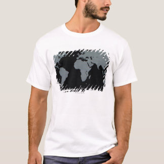 World Map on Computer Monitor T-Shirt