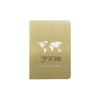 world map on faux gold travel feminine passport holder