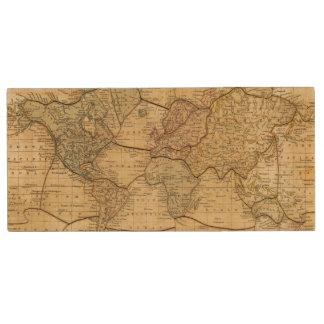 World map on Mercators Projection Wood USB 2.0 Flash Drive