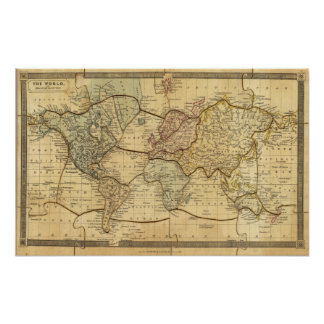 World map on Mercators Projection Poster