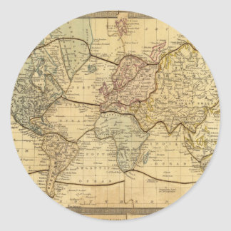 World map on Mercators Projection Round Stickers