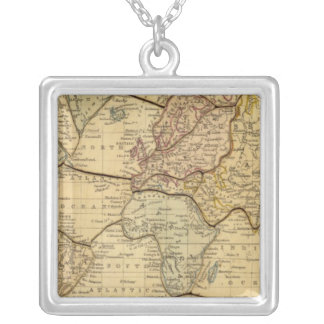 World map on Mercators Projection Silver Plated Necklace