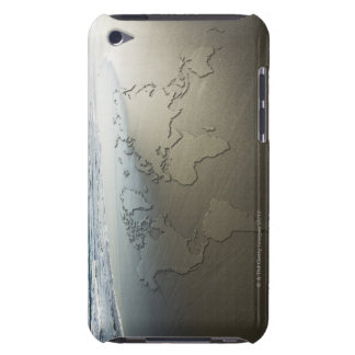 World map on sand barely there iPod case