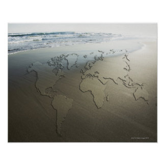 World map on sand poster