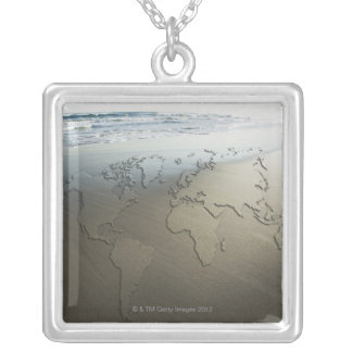 World map on sand silver plated necklace