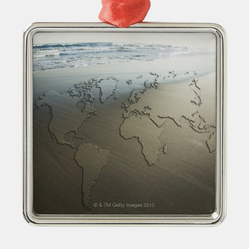 World map on sand square metal christmas ornament