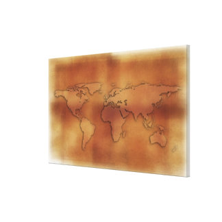 World map on textured background stretched canvas prints