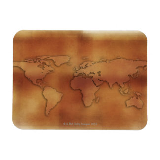 World map on textured background magnet