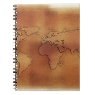 World map on textured background spiral notebooks