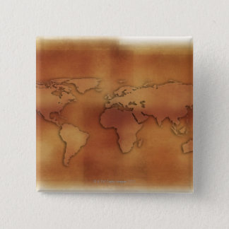 World map on textured background pinback button