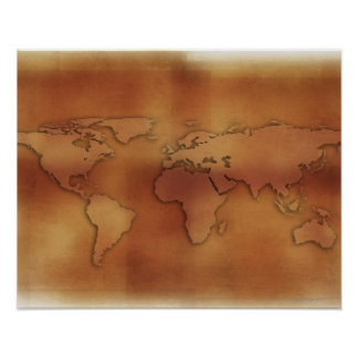 World map on textured background poster