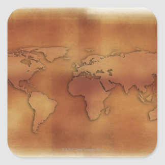 World map on textured background square sticker