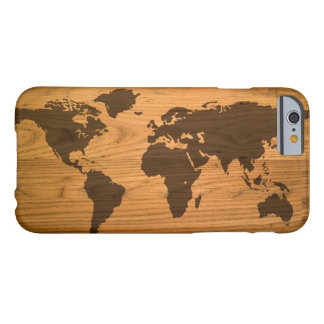 World Map on Wood Grain Barely There iPhone 6 Case