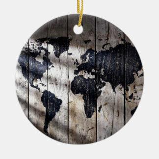 World map on wood texture ceramic ornament