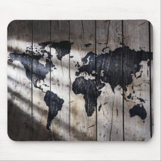 World map on wood texture mouse pad