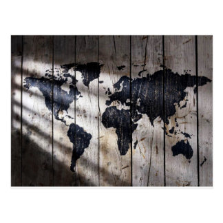 World map on wood texture postcard