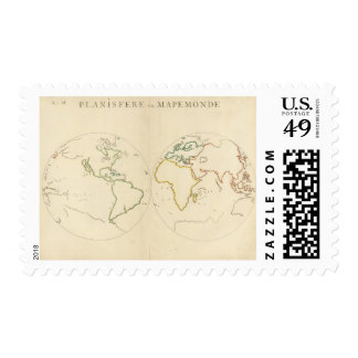 World Map Outline 2 Postage Stamps