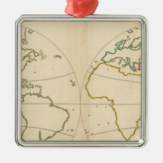 World Map Outline Christmas Tree Ornament