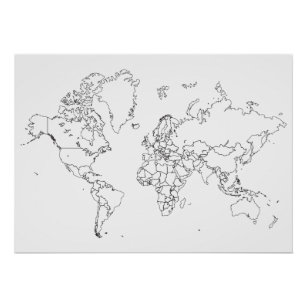 Map Posters Photo Prints Zazzle - World map silhouette poster