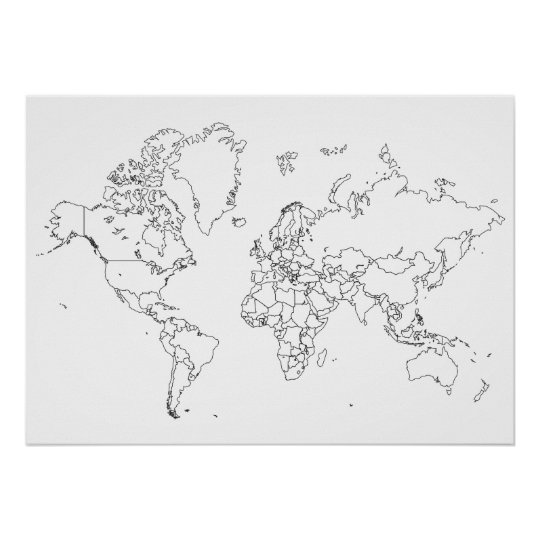 World map outline poster zazzle world map outline poster gumiabroncs Images
