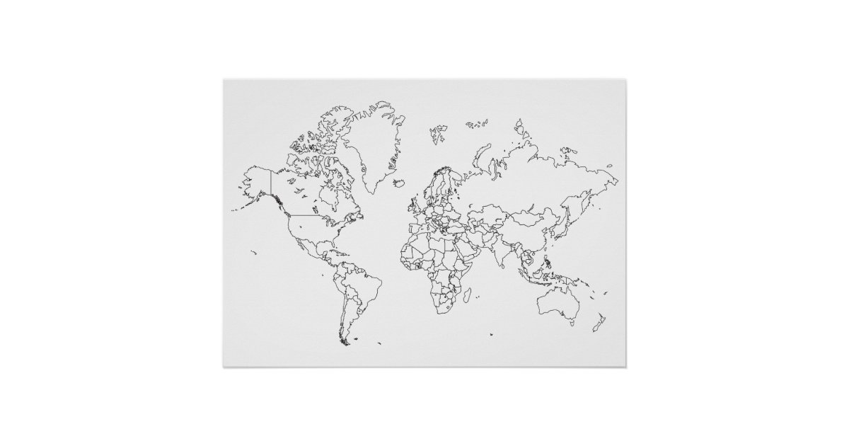 World Map Posters Zazzle - World map drawing outline