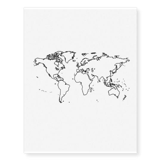 World Map Outline Temporary Tattoos Zazzle Com