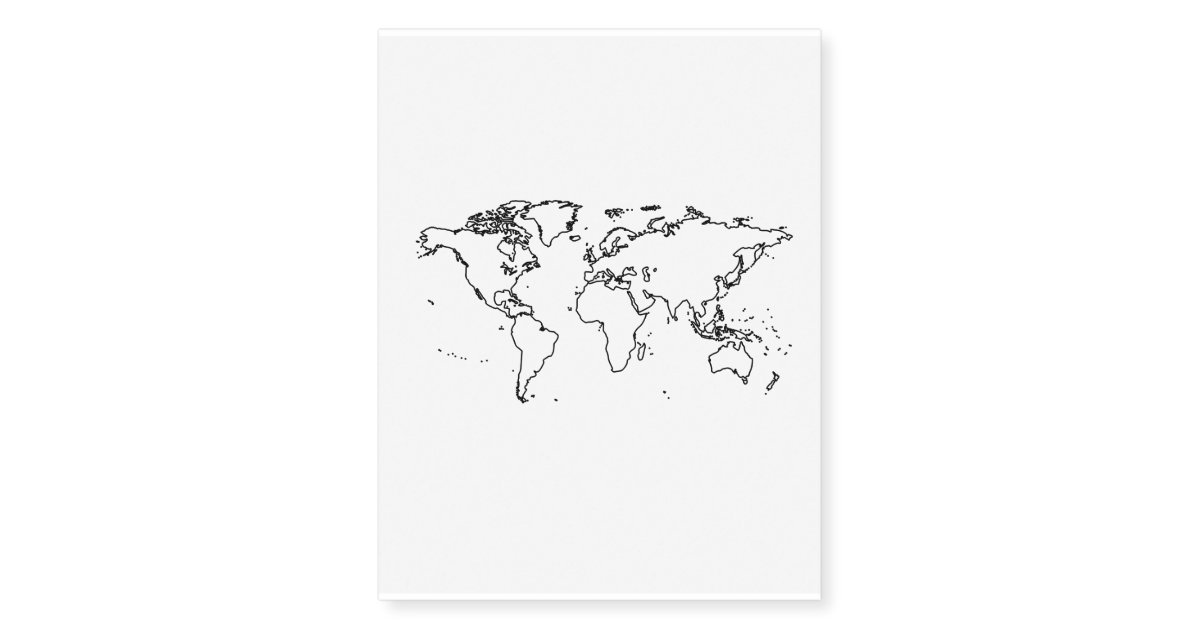 World map outline temporary tattoos zazzle gumiabroncs Image collections